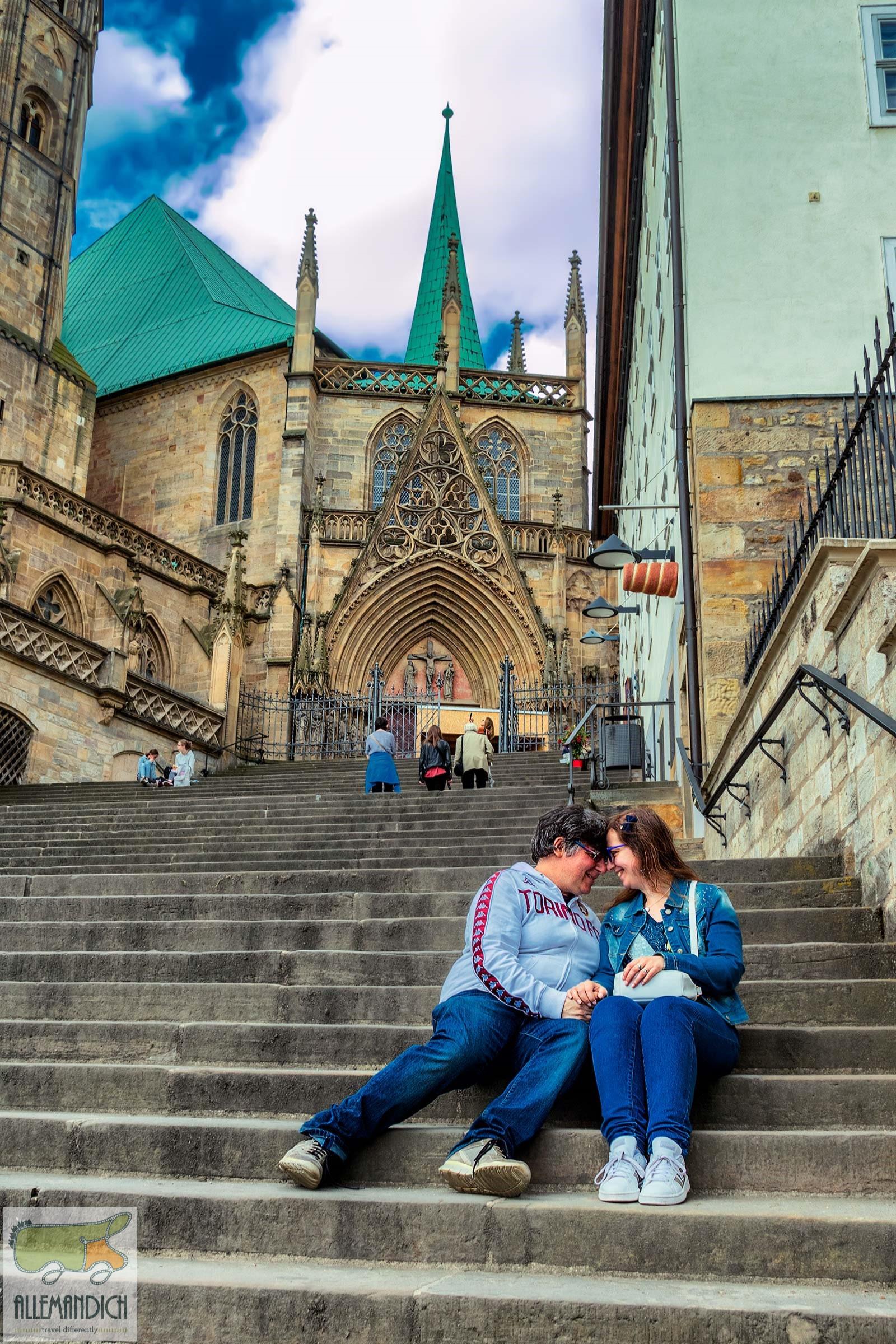 Noi sulla scalinata di Erfurt