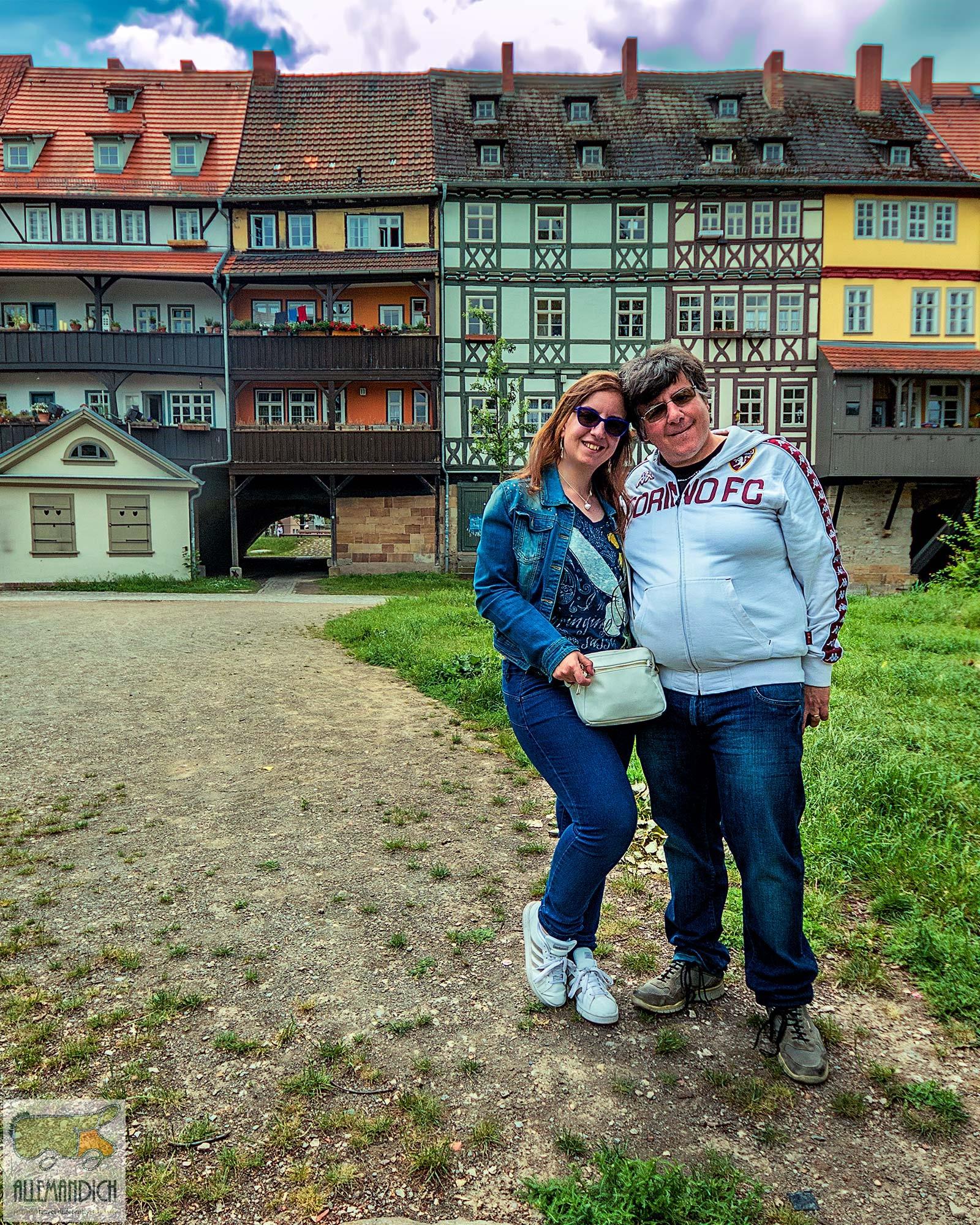 Noi sul ponte coperto di Erfurt