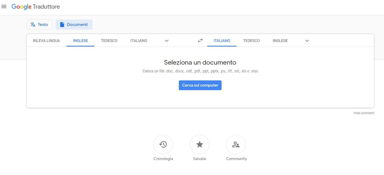 documenti google traduttore