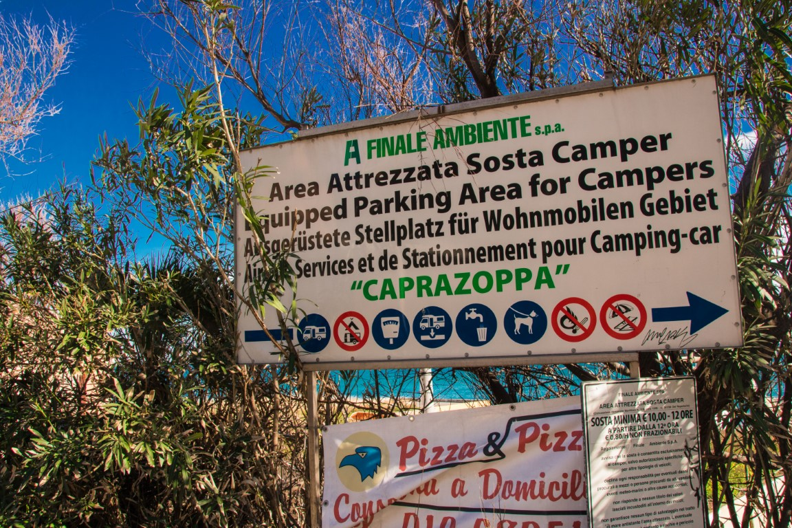 Area camper Finale Ligure informazioni