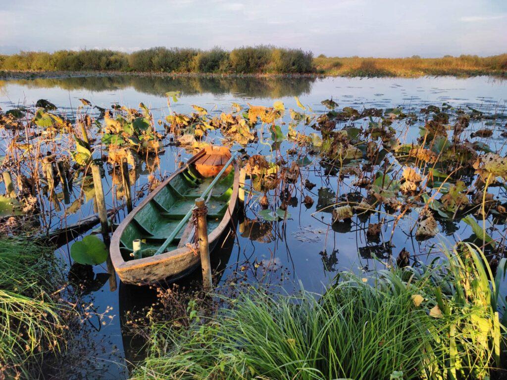 Imbarcazione sul Mincio in autunno
