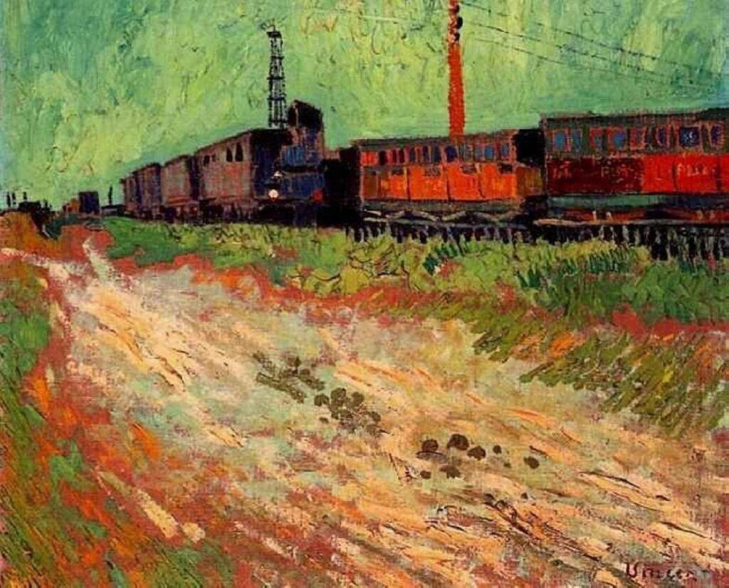 Wagons de chemin de fer à Arles di van Gogh