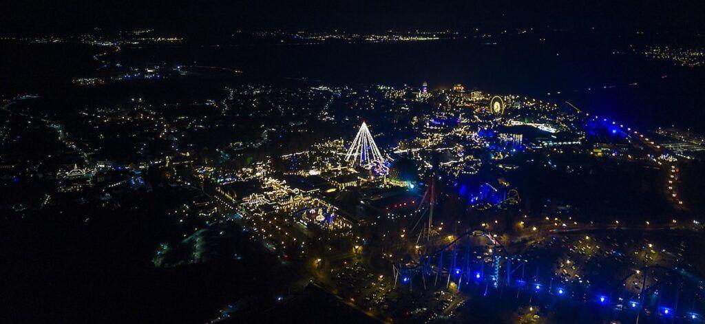 Vista col drone di Europa Park a Natale